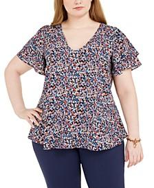 Plus Size Floral-Print Flutter-Sleeve Top