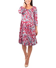 Petite Pleated Printed Dress