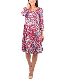Petite Pleated Printed Dress