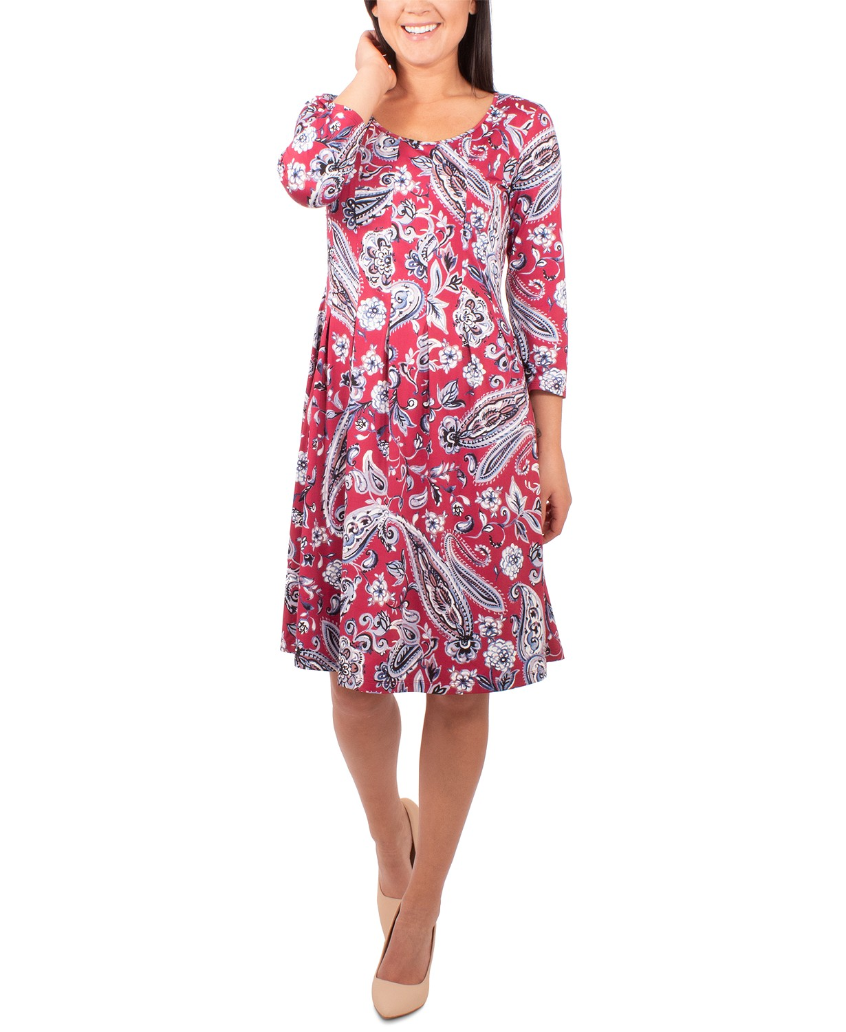 NY Collection Petite Pleated Printed Dress