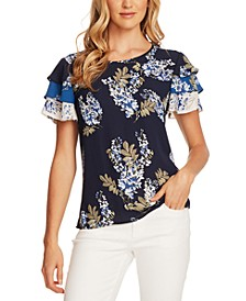 Weeping Willows Floral-Print Tiered-Sleeve Blouse
