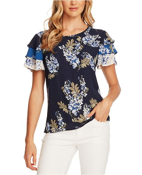 Vince Camuto Weeping Willows Floral-Print Tiered-Sleeve Blouse