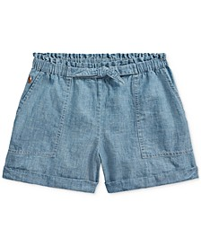 폴로 랄프로렌 걸즈 데님 반바지 Polo Ralph Lauren Big Girls Cotton Chambray Camp Shorts,Indigo