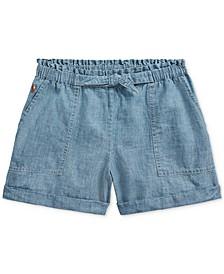 Big Girls Cotton Chambray Camp Shorts
