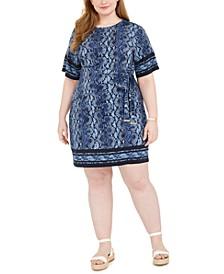 Belted Python-Print Dress