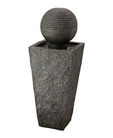 Rippling Floating Sphere Pedestal Outdoor Fountain with Pump and LED Light