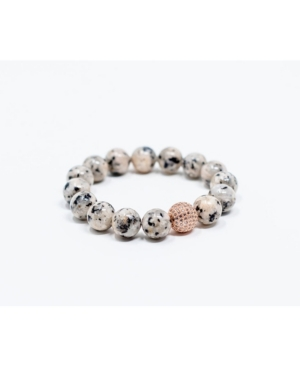 Spotted Gray Jasper With Rose Gold Pave Accent Bracelet