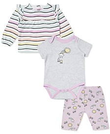 Earth by Baby Girls 3-Pc. Striped T-Shirt, Sun Bodysuit & Printed Capris Set