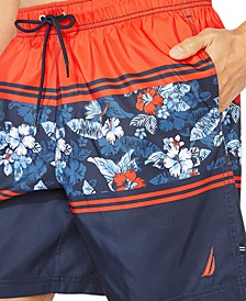"Men's Blue Sail Floral Stripe 8"" Swim Trunks, Created for Macy's"