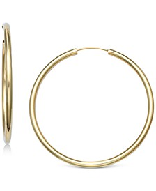 "Medium Endless Hoop Earrings in 18k Gold-Plated Sterling Silver, 1.57"", Created for Macy's"