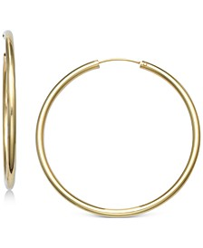 "Large Endless Hoop Earrings in 18k Gold-Plated Sterling Silver, 2"", Created for Macy's"