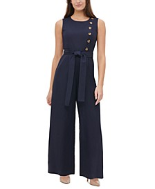 Button-Trim Wide-Leg Jumpsuit