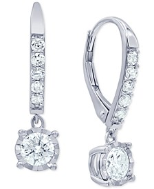 Diamond Drop Leverback Earrings (1 ct. t.w.) in 14k White Gold