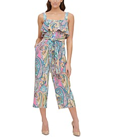Paisley-Print Double Twill Cropped Jumpsuit