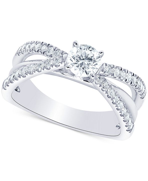 Macy's Diamond Multi-Row Engagement Ring (1 ct. t.w.) in 14k White Gold