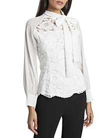 Tie-Neck Chiffon & Lace Top