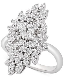 Diamond Cluster Statement Ring (1 ct. t.w.) in 14k White Gold, Created for Macy's