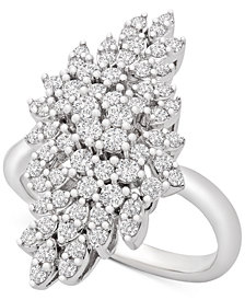 Wrapped in Love™ Diamond Cluster Statement Ring (1 ct. t.w.) in 14k White Gold, Created for Macy's