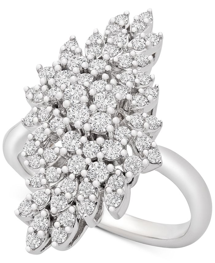 Wrapped in Love - Diamond Cluster Statement Ring (1 ct. t.w.) in 14k White Gold