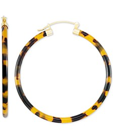 Large Tortoise Shell-Look Lucite Hoop Earrings in 18k Gold-Plated Sterling Silver