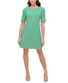 Petite Button-Sleeve A-Line Scuba Dress