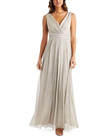 Petite Metallic Crinkle Gown