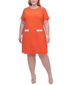 Plus Scuba Crepe Two Pocket A-line Dress