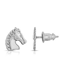 Silver-Tone Horse Stud Earrings