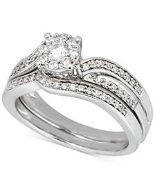 Diamond Halo Contoured Bridal Set (1/2 ct. t.w.) in 14k White Gold