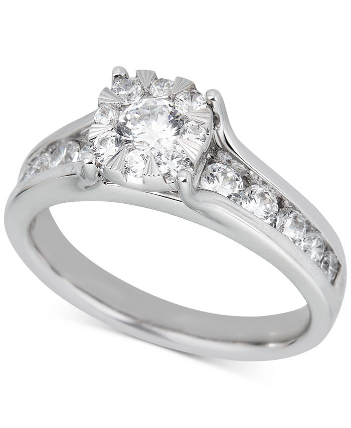 Macy's - Diamond Halo Channel-Set Engagement Ring (1 ct. t.w.) in 14k White Gold
