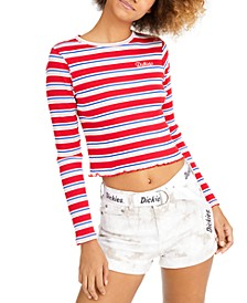 Stripe Long-Sleeve Crop T-Shirt