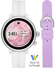 Women's Sport Scalloped White Silicone Strap Touchscreen Smart Watch 41mm Gift Set