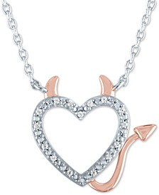 Diamond Accent Devil Heart Pendant Necklace in Sterling Silver & 14k Rose Gold-Plate
