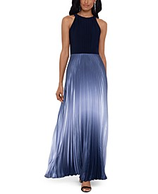 Petite Pleated Ombré Halter Gown