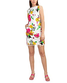 Light Floral-Print Sheath Dress