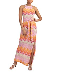 Zigzag-Print High-Slit Dress