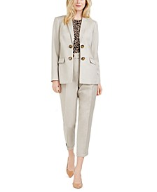 Petite Double-Breasted Blazer, Printed Pleat-Neck Top & Slim Pants