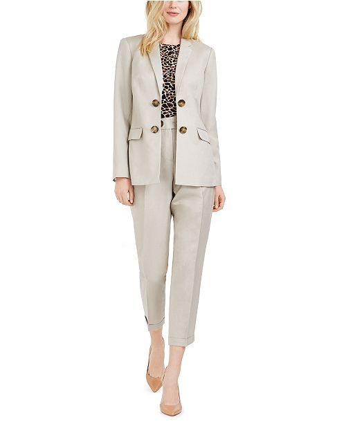 Calvin Klein Petite Double-Breasted Blazer, Printed Pleat-Neck Top & Slim Pants