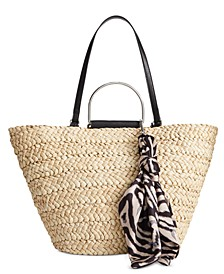 INC Kourtneyy Tulip Straw Tote with Scarf