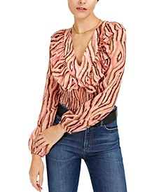 Printed Ruffled Smocked Top, Created for Macy's