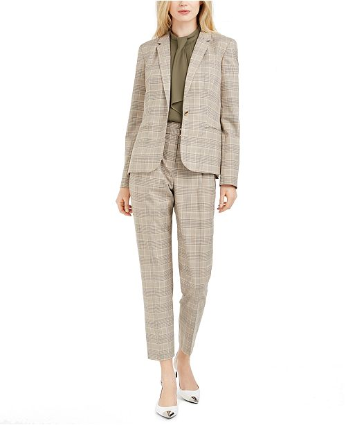 Calvin Klein Plaid Blazer, Ruffle-Front Top & Plaid Paperbag-Waist Pants
