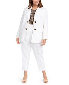 Plus Size Open-Front Jacket, Animal-Print Top & Ankle Pants