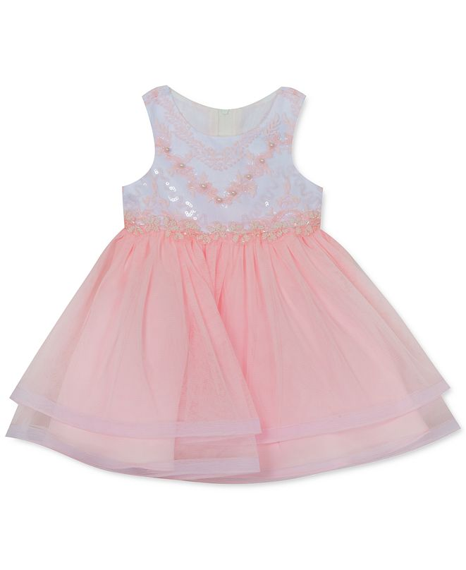 Rare Editions Baby Girls Embroidered Tiered-Hem Dress