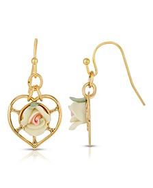 14K Gold-Dipped Heart with Porcelain Rose Earrings