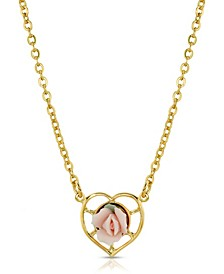 14K Gold-Dipped Porcelain Rose Heart Necklace