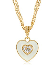 Enamel Heart with Swarovski Crystal Necklace