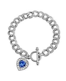 Sapphire Swarovski Elements Heart Toggle Bracelet