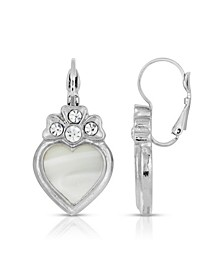 Crystal Heart Lever Back Earrings