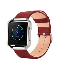 Unisex Fitbit Blaze Red Genuine Leather Watch Replacement Band