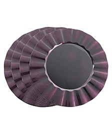 Metallic Ruffle Border Round Charger Plate Set of 4